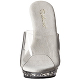 Clear Rhinestone Platform 13 cm LIP-101SDT Women Mules Shoes
