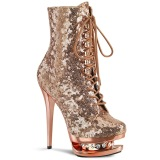 Copper 15,5 cm BLONDIE-R-1020 lace up platform ankle boots in sequins