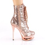 Copper 15,5 cm BLONDIE-R-1020 lace up platform ankle boots in sequins