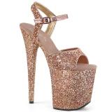 Copper 20 cm FLAMINGO-810LG glitter platform high heels shoes