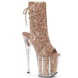 Copper glitter 20 cm FLAMINGO-1018G Pole dancing ankle boots