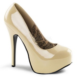 Cream Shiny 14,5 cm Burlesque BORDELLO TEEZE-06 Platform Pumps