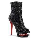 Dual Colored Sequins 15,5 cm BLONDIE-R-1008 Platform Ankle Calf Boots