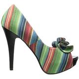 Flerfärgad 13 cm LOLITA-12 dam pumps skor med öppen tå