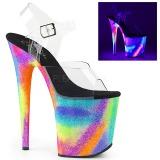 Flerfärgad 20 cm FLAMINGO-808GXY Högklackade Sandaler Neon Platå