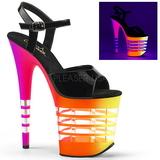 Flerfärgad Neon 20 cm FLAMINGO-809UVLN Platå Högklackade Skor