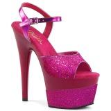 Fuchsia 18 cm ADORE-709-2G glitter platå high heels
