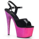 Fuchsia 18 cm ADORE-709OMBRE glitter platå high heels