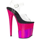 Fuchsia 20 cm FLAMINGO-808-2HGM glitter platå high heels