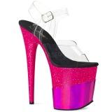 Fuchsia 20 cm FLAMINGO-808-2HGM glittriga klackar platå sandaler skor