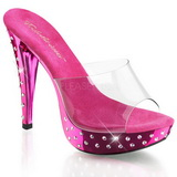 Fuchsia Transparent 14 cm COCKTAIL-501SDT Slippers Strass Klackar