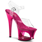 Fuchsia Transparent 18 cm MOON-708DMCH High Heels Platform