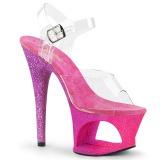 Fuchsia glitter 18 cm Pleaser MOON-708OMBRE Pole dancing high heels shoes