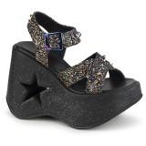 Glitter 13 cm Demonia DYNAMITE-02 lolita sandaler med kilklack