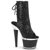Glitter 18 cm SPECTATOR-1018G Exotic platform peep toe ankle boots black