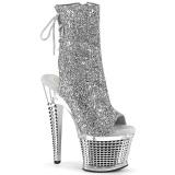 Glitter 18 cm SPECTATOR-1018G Exotic platform peep toe ankle boots silver