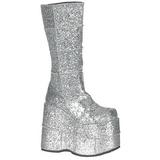Glitter 18 cm STACK-301G Platå Goth Stövlar för Män