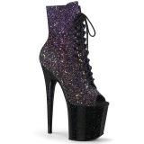 Glitter 20 cm FLAMINGO-1021OMBG peep toe platåstövletter - pole dance ankelstövletter