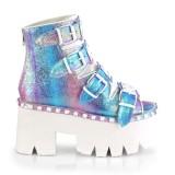 Glitter Vegan 9 cm ASHES-70 lolita platå ankleboots med blockklack till kvinnor