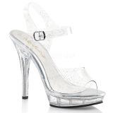 Glittrig 13 cm Fabulicious LIP-108MMG högklackade sandaletter