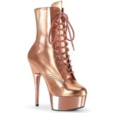 Gold 15 cm DELIGHT-1020 pleaser ankle boots with platform