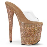 Gold 20 cm FLAMINGO-801LG glitter platform mules womens