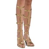 Gold 8 cm ROMAN-10 knee high womens gladiator sandals