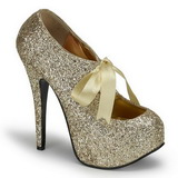 Gold Glitter 14,5 cm Burlesque TEEZE-10G Platform Pumps Shoes