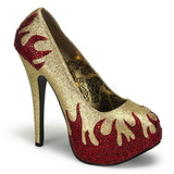 Gold Glittering Stones 14,5 cm Burlesque TEEZE-27 Womens High Heels Shoes