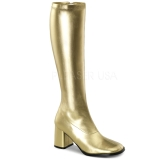 Gold Pu 7,5 cm Funtasma GOGO-300 Women Knee Boots