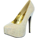 Gold Rhinestone 14,5 cm Burlesque TEEZE-06R Platform Pumps Women Shoes