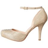 Gold Rhinestone 9 cm COVET-03 Low Heeled Classic Pumps Shoes