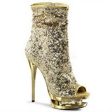 Gold Sequins 15,5 cm BLONDIE-R-1008 Platform Ankle Calf Boots