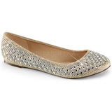 Gold TREAT-06 rhinestone flat ballerinas womens shoes