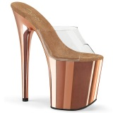 Gold chrome platform 20 cm FLAMINGO-801 pleaser high heel mules