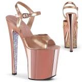 Gold chrome platform 20 cm XTREME-809TTG pleaser high heels shoes