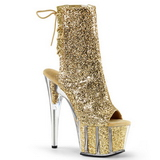 Gold glitter 18 cm ADORE-1018G womens platform soled ankle boots