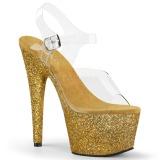 Gold glitter 18 cm Pleaser ADORE-708HMG Pole dancing high heels shoes