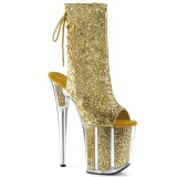 Gold glitter 20 cm FLAMINGO-1018G Pole dancing ankle boots