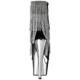 Grå 18 cm ADORE-1024RSF dam stövletter med fransar hög klack