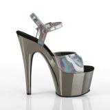 Grå 18 cm ADORE-709HGCH Hologram platå klackar skor