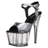 Grå 18 cm ADORE-710GT glittriga platå klackar skor