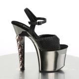 Grå 18 cm HEX-709 Högklackade sandaler krom platå