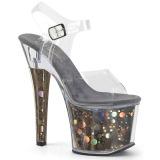 Grå 18 cm RADIANT-708BHG Hologram platå klackar skor