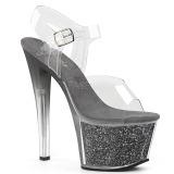 Grå 18 cm SKY-308G-T glittriga platå sandaler skor