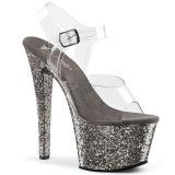 Grå 18 cm SKY-308LG glittriga platå klackar skor