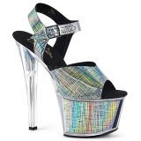 Grå 18 cm SKY-308N-CRHM Hologram platå klackar skor
