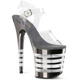 Grå 20 cm FLAMINGO-808CHLN Högklackade sandaler krom platå