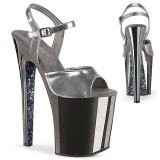 Grå krom platå 20 cm XTREME-809TTG pleaser high heels skor