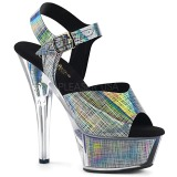 Gray 15 cm KISS-208N-CRHM Hologram platform high heels shoes